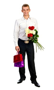 Free Young Man With Rose And Shopping Bag Royalty Free Stock Images - 18043329