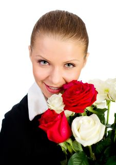 Free Young Women With Rose Stock Image - 18043601