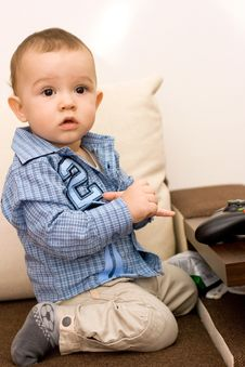 Free Caucasian Baby And Joystick Stock Images - 18044354