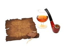 Old Paper Seal Wax , Pipe And Glass Of Cognac Royalty Free Stock Photo