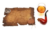 Free Old Paper Seal Wax , Pipe And Glass Of Cognac Stock Images - 18045444