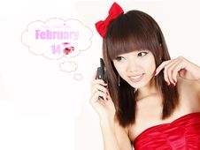 Free Asian Girl In Valentine Royalty Free Stock Photo - 18046135