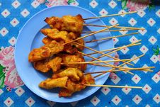 Thai Meat Satay Stock Photography