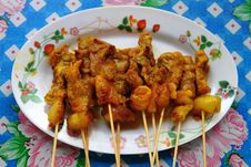 Thai Meat Satay Stock Photo