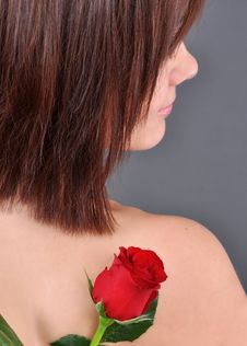 A Girl Holding A Red Rose Stock Image