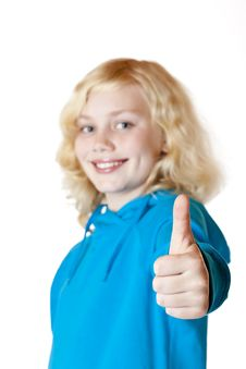 Free Young Beautiful Girl / Child Shows Thumb Up Royalty Free Stock Image - 18046886