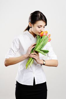 Free Businesswoman With Tulips Royalty Free Stock Photos - 18047228