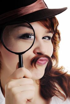 Free Woman With Magnifying Glass Stock Images - 18047414