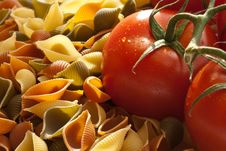 Tomato And Pasta Shells Royalty Free Stock Images