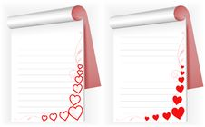Free Two Notebook With Hearts Royalty Free Stock Images - 18047869