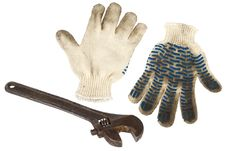Free Wrench And Work Gloves Stock Images - 18048504