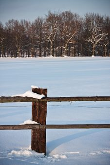 Snow Landscape And Enclosure Royalty Free Stock Photography