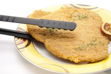 Escalope Raw With Grill Tie Stock Images