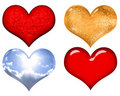 Free Set Of Red,gold,silver And Glass Valentine Hearts Stock Photography - 18057222