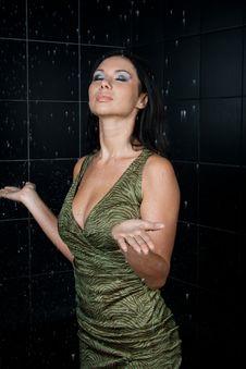 Sexy Wet Girl In Green Dress Stock Photos