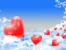 Free Hearts Balloons Over The Clouds Royalty Free Stock Photography - 18050167