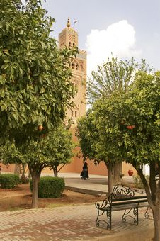 Marrakesh Tower And Park Stock Photos