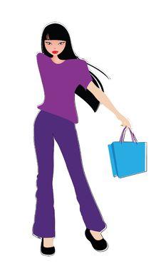 Vector Fashion Female Shopping 1 Stock Photography