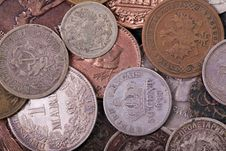 Copper And Silver Coins Background Stock Images
