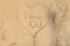 I Love You, In The Sand Stock Photo