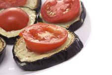 Free Fried Eggplant With Tomatoes And Garlick Sauce Stock Images - 18054204