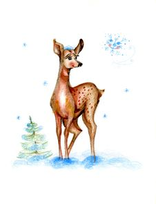 Free Baby Drawing Deer Stock Images - 18054434