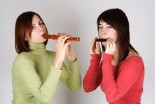 Free Two Girls Playing On Flute And Harp Royalty Free Stock Photo - 18056255