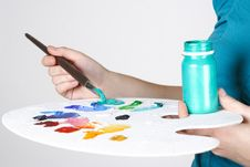 Free Closeup Of Woman Mixing Paint On Palette Stock Photography - 18056322