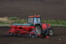 Tractor Working On Field Royalty Free Stock Photo