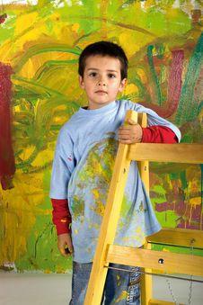 Little Boy On Ladder Stock Image