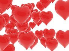 Free Shiny Red Hearts Falling In Love Royalty Free Stock Photos - 18056468