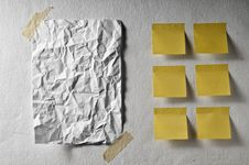 Free White Sheet Empty Crumpled And Yellow Post It Royalty Free Stock Images - 18057159