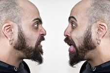 Two Men With Beards Make Grimaces Stock Photos