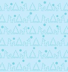 Free Pattern With Snowmen And Fur-trees Royalty Free Stock Photos - 18058498