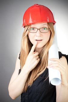 Free Young Engineer Woman In Helmet With Blueprint Stock Photography - 18059312