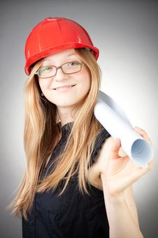 Free Young Engineer Woman In Helmet With Blueprint Royalty Free Stock Photography - 18059327