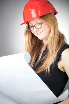 Free Young Engineer Woman In Helmet With Blueprint Stock Photos - 18059353