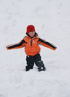 Free Boy Having Great Fun In Snow Stock Images - 18060094