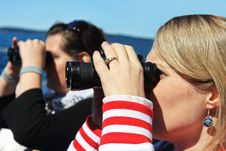 Free Girls Looking Through Binoculars Royalty Free Stock Photo - 18060525