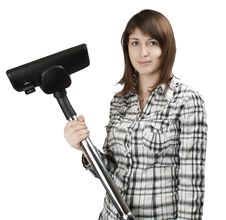 Free Girl With A Vacuum Cleaner Stock Images - 18061434