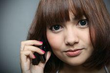 Free Girl & Mobile Phone Royalty Free Stock Image - 18061606