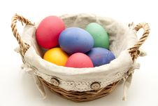 Colored Eggs In The Basket Royalty Free Stock Photos