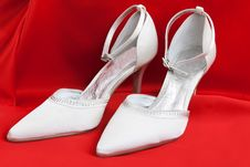 Pair Of White Women S Shoes Royalty Free Stock Images