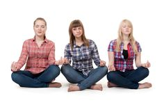 Free Three Girls Sitting In Lotus Posture Stock Photography - 18062222