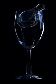Wine Glass And Light Bulb Stock Images