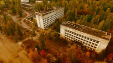 Polissya Hotel, Pripyat, Chernobyl, Aerial View Royalty Free Stock Images