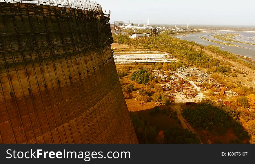 Chernobyl`s Cooling Towers, Aerial View, Beautiful Landscape