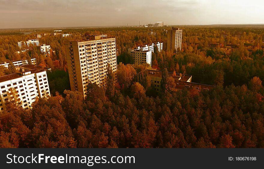 Aerial View of Pripyat, Chernobyl, Beautiful Landscape