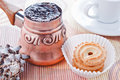 Free Turkish Coffee In Copper Coffee Pot And Cookies Stock Photos - 18075973