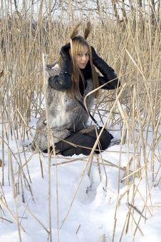 Free Girl Walking In Winter Stock Image - 18070351